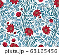 Vintage floral seamless pattern with burgundy flowers and blue foliage on light background. Vector illustration. 63165456