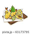 天ぷら盛り合わせの手書き風イラスト ベクター 63173795