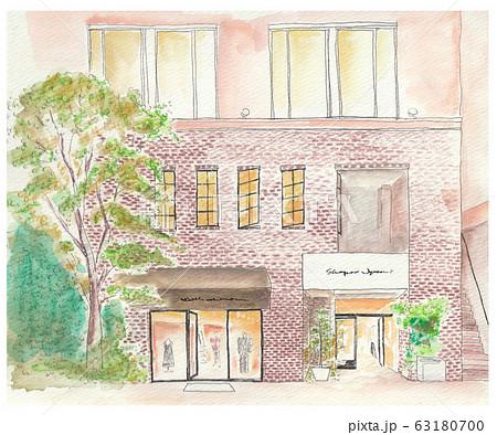 お洒落な建物の水彩画イラスト 63180700