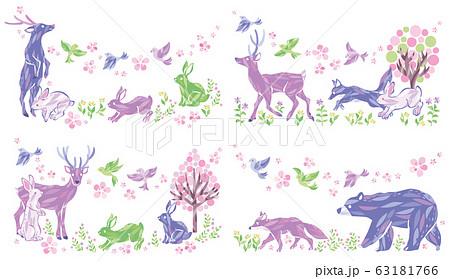 春 動物 イラスト セット 63181766