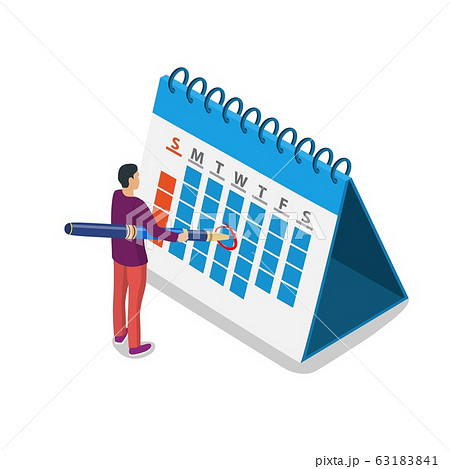 Mark calendar isometric icon. 63183841