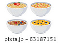 White Bowls of Breakfast Cereal and Cornflakes with Berries Vector Set 63187151