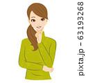 女性 考える 閃く 笑顔 63193268