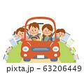 家族でドライブするイラスト(背景なし) 63206449