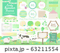 初夏 緑 春 フレーム イラスト ベクター 木目 看板 素材 セット 63211554