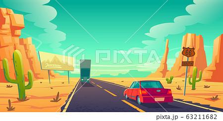 Road in desert with cars ride long asphalt highway 63211682