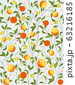 Seamless tropical fruit pattern background with oranges, flowers and branches on light background. Vector illustration 63216185