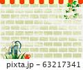 背景素材 白レンガの壁&アイビー かわいい屋根付き 63217341