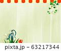 背景素材 白壁&アイビー かわいい屋根付き 63217344