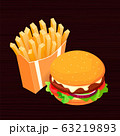 Isometric vector illustration on dark wood background French fries and cola. Fast food concept 63219893