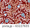Vintage floral seamless pattern with blue flowers and foliage on burgundy background Unreal colors Vector illustration 63227635