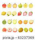 フルーツのイラストセット 手描き・水彩風 63237369