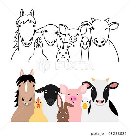 農場の動物たちのグループセット 63238825