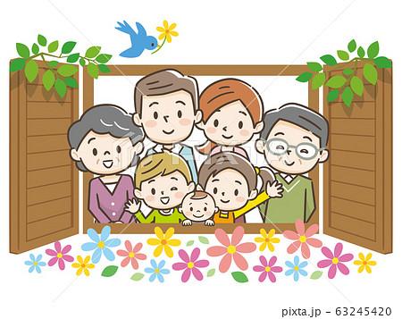 家族 三世代 窓 63245420
