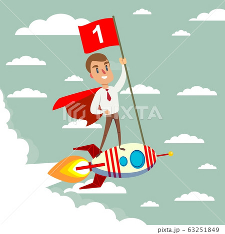 Happy businessman holding number one flag standing on rocket ship flying through sky. 63251849