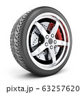 One car wheel on white background 63257620