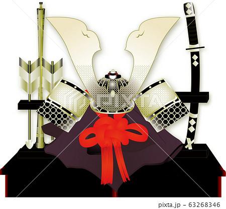 5月端午の節句の兜に矢羽と刀の置物のイラスト 63268346