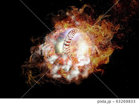 炎と煙に包まれた抽象的な野球ボール 63269833