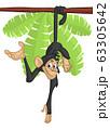 Cute Cartoon Monkey Chimpanzee Hanging  On Wood Branch 63305642