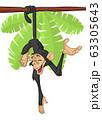 Cute Cartoon Monkey Chimpanzee Hanging  On Wood Branch 63305643