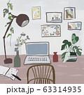 ワークスペース 観葉植物、 パソコン 63314935