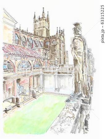 世界遺産の街並み・イギリス・バースのローマン浴場 63315225