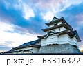 歴史的な日本の城 夕暮れの空  古城 夕焼け  63316322