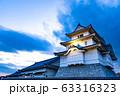 歴史的な日本の城 夕暮れの空  古城 夕焼け  63316323