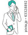 手描き1color スーツの男性 通話で困る 63328892