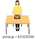 ステーキプレートを食べる若い女性 テーブル 63329296
