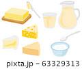 乳製品のセット バター 牛乳 チーズ ヨーグルト 63329313