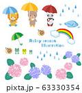 梅雨 イラストセット ベクター 63330354