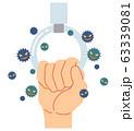 吊革をつかむ事によるウィルス感染 63339081