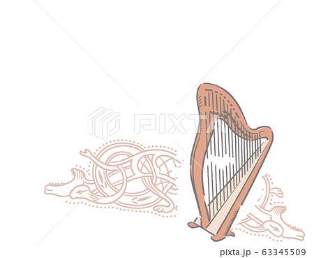 ケルト、アイルランド、楽器がテーマのイラスト背景素材 63345509