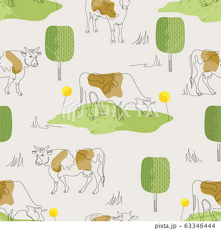 Seamless pattern with cows. Cow drawn in one line. 63346444