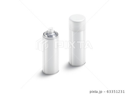 Blank white opened and closed spray can mock up, isolated 63351231