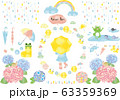 雨:雨 雫 雨粒 レインコート レインブーツ 傘 長靴 紫陽花 カエル 水たまり おたまじゃくし 63359369