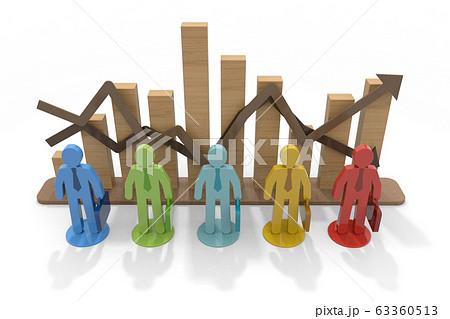 ビジネスマンの売上成績。他人と比べる。3Dレンダリング 63360513