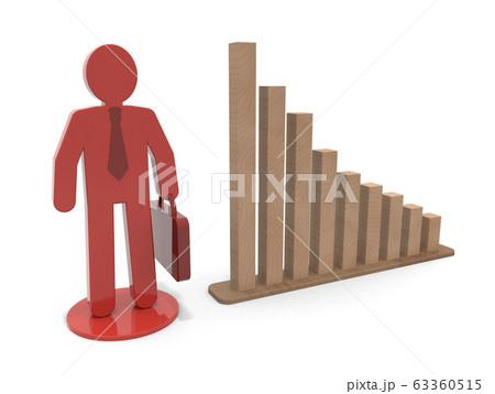 ビジネスマンと棒グラフ。赤色の駒。3Dレンダリング 63360515
