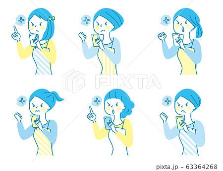 スマホ 怒る 若い女性 エプロン  63364268