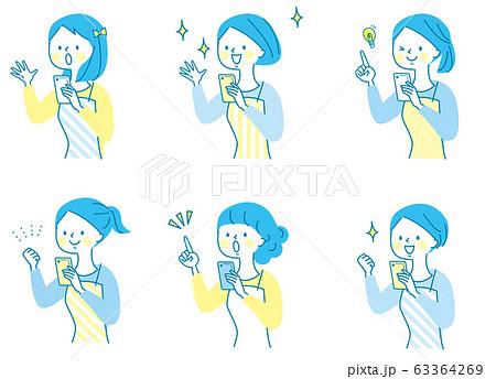 スマホ 驚く 若い女性 エプロン  63364269