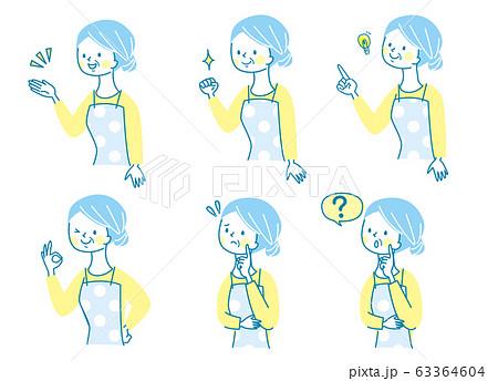 かわいい エプロン シニア女性 表情セット 63364604