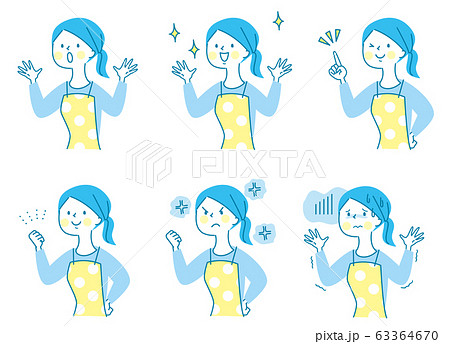 かわいい エプロン 女性 表情セット02 63364670