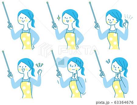 かわいい エプロン 女性 表情セット03 63364676