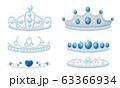 Gleamy Princess Crowns or Diadems with Precious Stones Vector Set 63366934