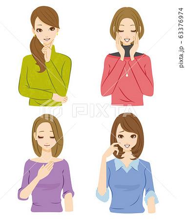 女性 セット 笑顔 63376974