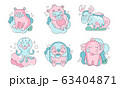 Cute Sleeping Animals Collection, Lovely Bear, Monkey, Deer, Octopus, Bird, Elephant of Pastel Colors Vector Illustration 63404871