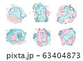 Cute Sleeping Animals Collection, Lovely Whale, Bunny, Unicorn, Cat, Dog of Pastel Colors Vector Illustration 63404873