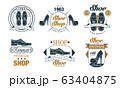 Footwear Store Logo Design Collection, Premium Shoe Shop Retro Badges Vector Illustration on White Background 63404875
