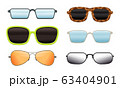 Collection of Eyeglasses of Different Shapes and Design, Sunglasses and Spectacles Vector Illustration 63404901